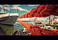 roped in (Sivan Miller) Tags: red port southafrica waterfront perspective capetown rope roped