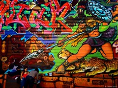 Added Pressure (kudaker) Tags: sanfrancisco california colors amazon mural funny aviles warrior pressure hehehe bigcats behindthescene e510 colourartaward lilacalley