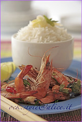 Spicy Shrimps with Cashew Nuts and Steamed Rice