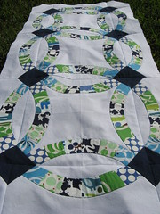 Double Wedding Ring Row Quilt Swap (Cut To Pieces) Tags: blue white green navy patchwork alexanderhenry denyseschmidt doubleweddingring rowrobinquiltswap
