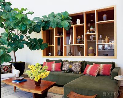 Earthy, modern California living room, featured in Elle Decor