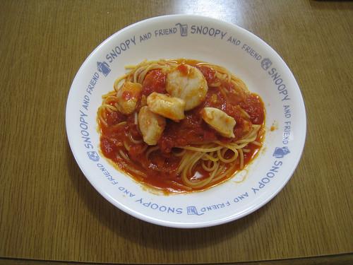 ホタテのトマトソーススパゲティ