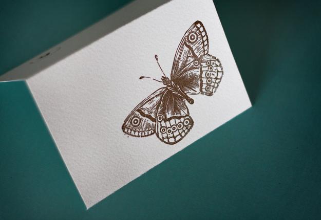 Brown Butterfly Letterpress Note