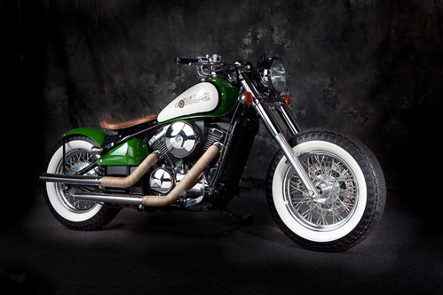 Green and White Kawasaki Vulcan 800 Bobber