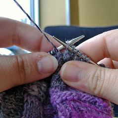 Wrapping short-rows, slip stitch