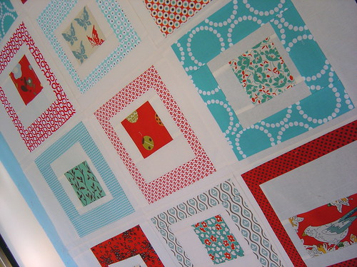 Red & Aqua Quilt top - close up