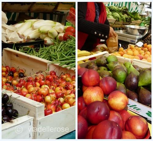 Collage di Picnik frutta al mercato