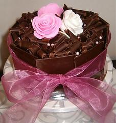 Cutting Cake (Choclit D'lites) Tags: birthday roses cake pretty chocolate ganache elegant topper fondant choclit dlites