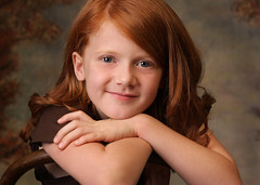 "Portrait of a little red headed girl (IronRodArt - Royce Bair (""Star Shooter"")) Tags: red portrait cute girl youth hair happy healthy child little sweet head innocent young curls redhead curly innocence backgrounds freckles haired coy adolescent props confident pleasant headed engaging bentwoodchair"