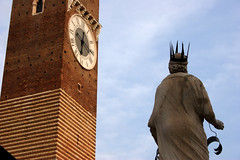Verona: Che ora e? (What time is it?) (Ostrosky Photos) Tags: world park old city blue urban italy brown white tower art heritage history clock window statue clouds site italian ancient king alone time roman stripes awesome bricks watching shakespeare arches nobody literature medieval romance historic unesco numbers verona tragedy infrastructure romeo strong crown marble middle needles juliet romanesque legend ages impressive representation built counting timeless important resistance erbe inheritance delle pi