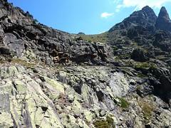La vire de Scaffone en haut du cirque rocheux avec le Campu Razzinu au-dessus et le Capu Rossu à D