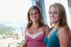 Jessi & Rachel (Lcrward) Tags: girls summer vacation people blur sanantonio sisters fun blurry rachel nikon pretty texas view tx blondes blonde leisure 2009 jessi toweroftheamericas