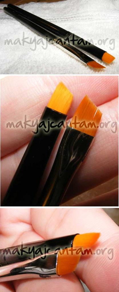 """makyaj kozmetik güzellik cilt bakımı sırları Inglot 31T ve Coastal Scents """"Black Taklon Angle Liner"""" Eyeliner Fırçaları"""