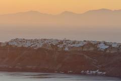 Oia from Skaros (MrHRdg) Tags: sunset mountain freeassociation evening boat twilight santorini greece caldera ia thira promontory imerovigli greekisland skaros