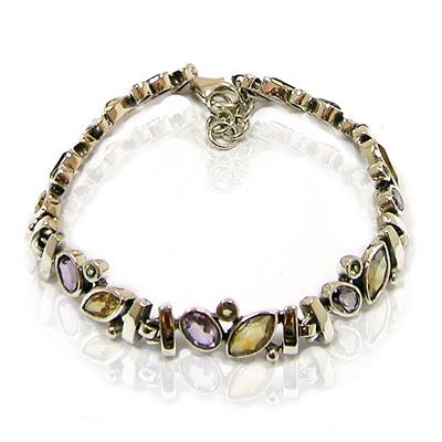Sterling silver 925 Bracelet with Amethyst, Citrine, Peridot birthstones