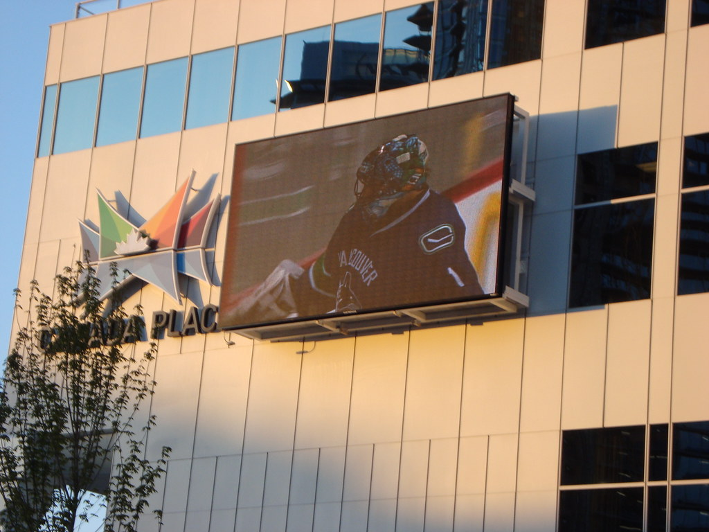 Vancouver Canucks Captain Roberto Luongo in a NHL playoff game broadcast live at Canada Place Jumbotron