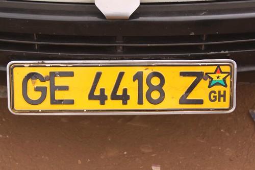 License plate, Ghana.