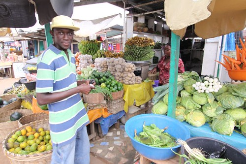 Stephen at market in Accra.