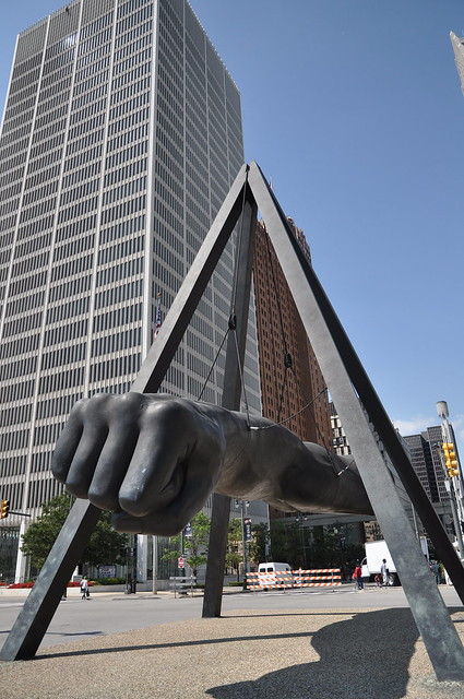 The arm of Joe Louis near Hart Plaza, site of stages