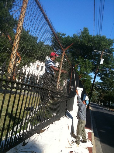 Fence painting at Soldiers Home in DC