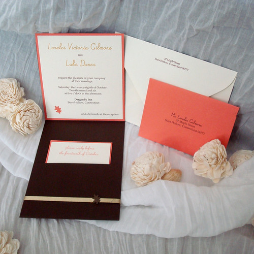 Ivory, Orange, and Brown Wedding Invitations-2