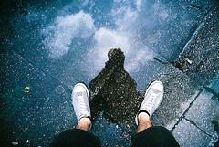 Lomo 07▸26 (ukaaa) Tags: road birthday street blue reflection film clouds analog 35mm puddle grey graffiti lomo lca lomography shoes belgium kodak belgië negative converse topdown pointandshoot shorts analogue 135 portra ghent gent allstar birdseyeview portra160vc werregarenstraat