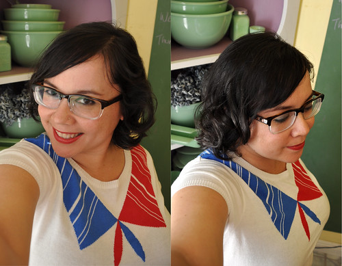 New glasses! And haircut! And pincurls!