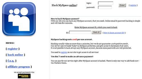 Hack MySpace, ICQ, and Vkontakte for $100 (50% discount for Russians