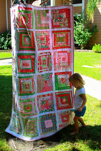 my daughter with the quilt