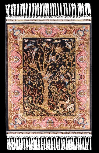 "Hereke Silk Carpet ""Tree of Life"" - 20 x 20"