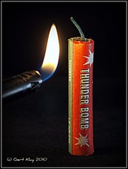 Fire in the hole..... (Cassius Klay) Tags: red green fire flame bomb firecracker knal fireinthehole rotje thunderbomb mcobj