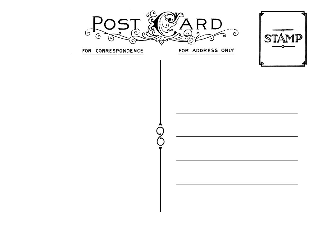 postcard back template