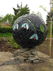 Pillar Balls - completed (katygalbraith) Tags: glass ceramic scotland mosaic pillar perthshire balls recycle crieff drystonewall drystone reclaimed bombaygin upcycle drystane katygalbraith