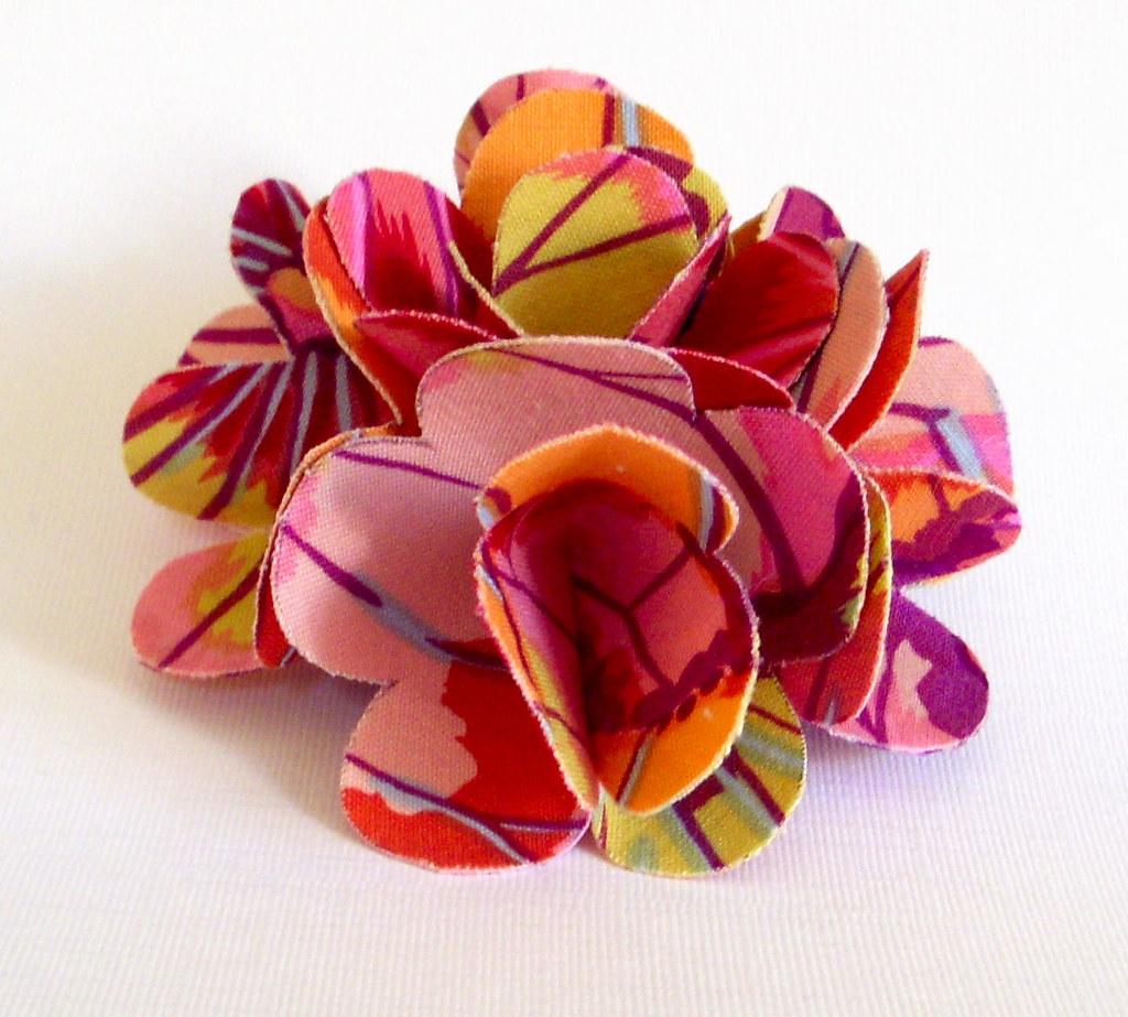 Fabric Flower - Kaffee Fassett Lotus Leaf Fabric Flower Hair Clip/Pin or Brooch