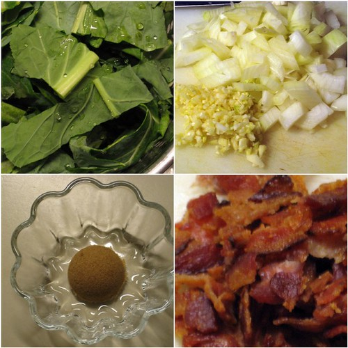 bacon and brown sugar braised collard greens