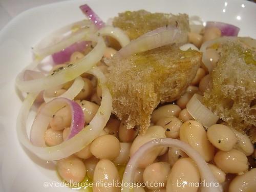 Insalata di fagioli bianchi e cipolla rossa di Tropea con pane Toscano