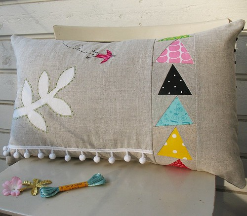 bird and pom-poms cushion by -syko-.