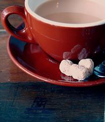 Tea. (sחow line) Tags: seattle red cup cafe nikon tea sugar saucer nikond40x d40x