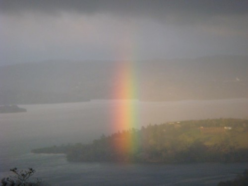 Vertical rainbow over Lake Arenal, Costa Rica...