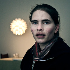 the girl and the hovering lamp (Ben Locke) Tags: portrait square polaroid march retro seven 2009 tora