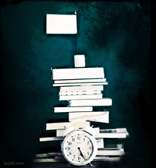 LIFE!! (Heilah Alnasser) Tags: blue white texture clock 50mm nikon time flag 14 books duotone layers concept symbols conceptual nikkor whiteflag symbolism d300 pileofbooks heilah heilahn conceptualmonday