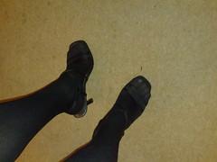 black strappy heels and stockings (keris_uk) Tags: black stockings shoes sandals heels opaque strappy
