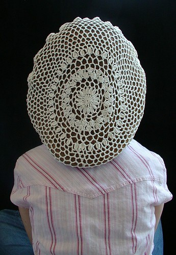 snood back made from antique doily