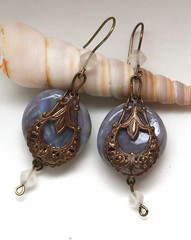 Vintage earrings with polymer clay faux labradorite