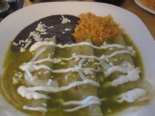 Chicken enchilada smothered in green tomatillo sauce at Los Generales in New Westminster