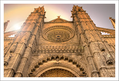 Morning In my Eyes (Andy Bracey -) Tags: morning travel light sunlight stone architecture sunrise spain cathedral gothic flare rays mallorca ballistrade palmacathedral bracey andybracey