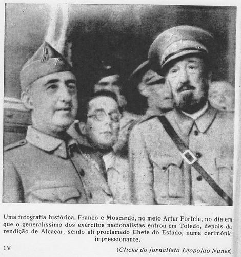 Francisco Franco, Artur Portela y José Moscardó el 29 de septiembre de 1936 en el Alcázar de Toledo. Foto de Leopoldo Nunes