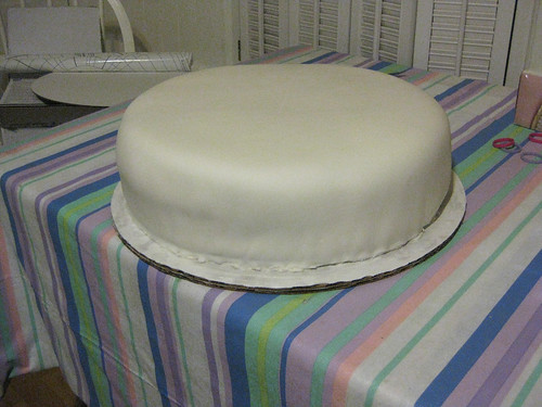 14-inch-cake, covered with fondant.