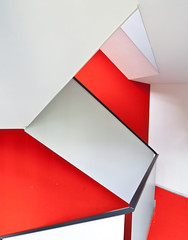 Staircase in Red and White (yushimoto_02 [christian]) Tags: red white abstract geometric lines architecture stairs canon germany munich mnchen geotagged arquitectura origami europe stair geometry line tre