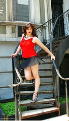 Descending the Stairs (Vera Wylde) Tags: portrait public stairs drag outdoors tv highheels lashes modeling cd crossdressing queen tgirl transgender tranny transvestite lipstick brunette trans blush dragqueen nailpolish eyeshadow queer transgendered crossdresser crossdress ts tg eyeliner shortskirt barelegs transgirl verawylde